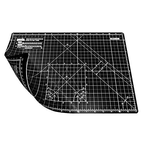 ANSIO Base De Corte A3 Doble Cara Auto Curación 5 Capas Para Costura y Manualidades - Imperial/Métrica 17 x 11 pulgadas / 42 x 27 cm- Negro/Negro