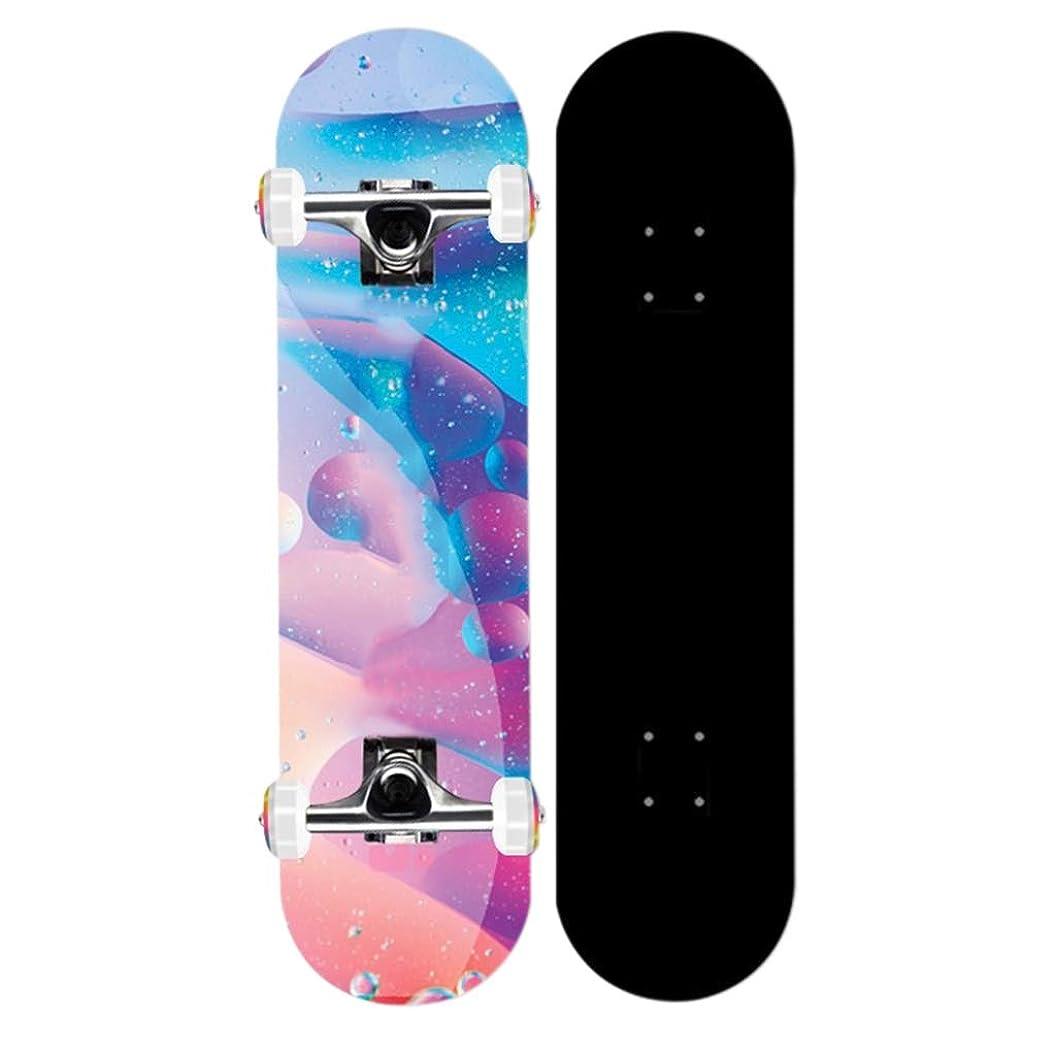 マルコポーロ土器膨らませるコンプリートスケートボード、プロフェッショナルボードダブルロッカースケート、初心者80.6センチメートルに適した大人の男性と女性のスケートボード* 21センチメートル)荷重:150キロ (Color : B)