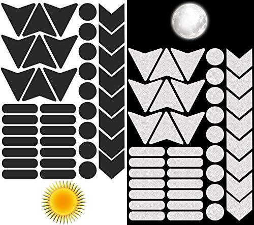 Biomar Labs® Reflektoren Reflektierende Aufkleber Reflexfolie Schwarz Stickers Set (40 Stück) Selbstklebende Reflektierende Reflektor Sicherheitsaufkleber D 46