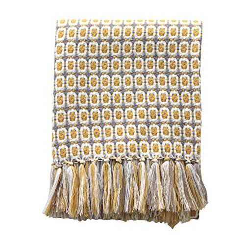 WKZ Manta De Punto Crochet Americano Plaid Sofa,Manta Tejida 100% Acrílico,Manta Decorativa Sofa Cuadrado Amarillo El 127 * 170cm Manta Tejer Sofá Manta Sillón Colcha(Color:Amarillo)