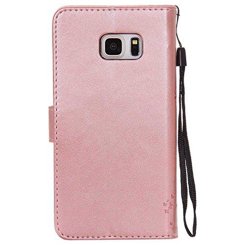 THRION Samsung Galaxy S6 Edge Plus Hülle, PU Cat und Baum Brieftaschenetui mit magnetischer Handschlaufe und Ständerhalterung für Samsung Galaxy S6 Edge Plus, Rosa Gold