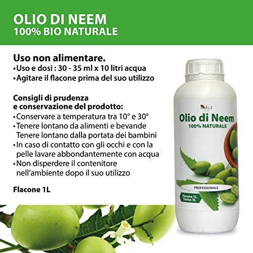 bio A.L.T Olio di Neem 1 litro Insetticida Repellente Disinfettante Bio Orto Giardino Anti Zanzare e Insetti Fastidiosi 100% Naturale Uso Professionale Protezione Totale