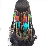LIUXING-Home Girl Decorating Headwear Hippie Pluma Tocado Tocado Tocado Accesorios for el Cabello de Las Mujeres Feather Tassel Headband (Color : Multi-Colored, Size : One Size)