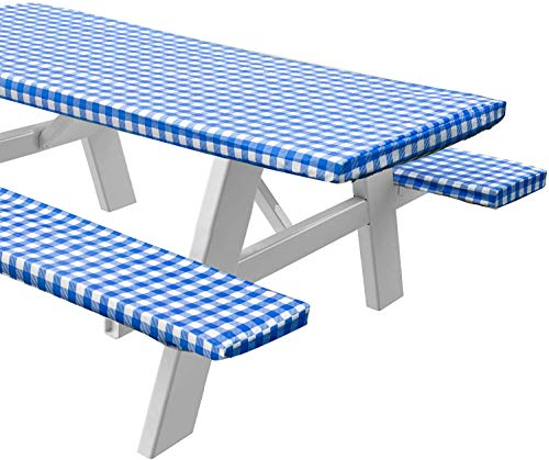 Sorfey Vinyl Picnic Table and Bench Fitted Tablecloth Cover, Checkered Design, Flannel Backed Lining, 28 x 72 Inch, 3-Piece Set, Blue