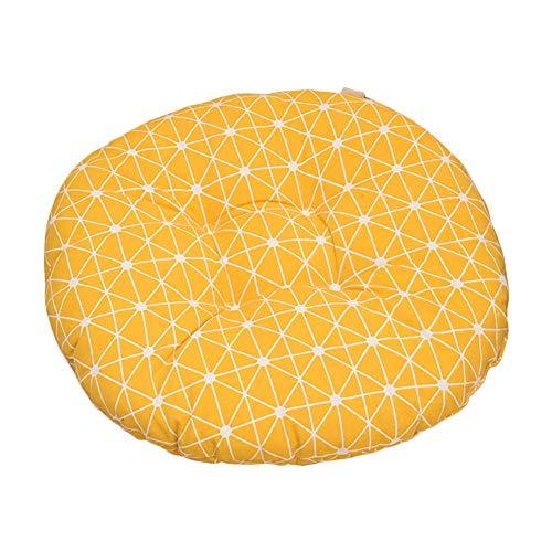 Nowbetter Coussin de chaise ronde Jaune En Grille galettes de tapis pour animal domestique oreillers Coussin pour fauteuil de bureau salle à manger meubles de jardin 40 x 8 cm