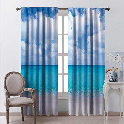 Ocean Decor - Cortinas de bolsillo en forma de barra para sala de estar (52 x 172 cm)