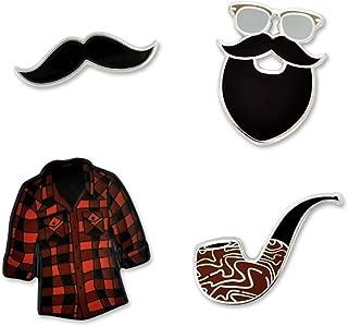 Hipster Mustache Beard Flannel & Pipe Enamel Lapel Pin Set