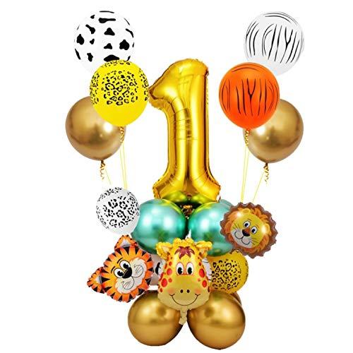 Globo Número Gigante,Fiesta de cumpleaños decoracion Niño-Feliz cumpleaños feliz con Globos de latex y Safari Bosque Animal globos para Niño Cumpleaños1-9 años (1 año)
