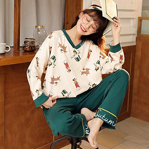 Damen Schlafanzug Pyjama,Cartoon Hund Muster V-Ausschnitt Design Pjs Nachtwäsche Anzug Zweiteilige Langarm Tops Hosen Set Loose Casual Loungewear Nachtwäsche Für Erwachsene Damen Joggen Homewear O