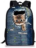 SEANATIVE Elementray - Mochila escolar para niños (17 pulgadas, bolsa de libros, adolescentes) Plateado azul vaquero One_Size