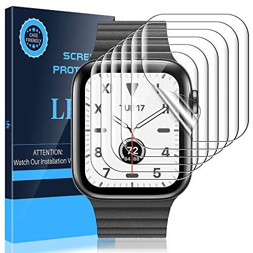 LK 6Stück Schutzfolie für Apple Watch Series 6/SE/5/4 44mm und Series 3/2/1 42mm Folie, [Modellnummer:LK-44MM-1][Kompatibel mit Hülle] [Blasenfreie] Klar HD Weich TPU Displayschutz