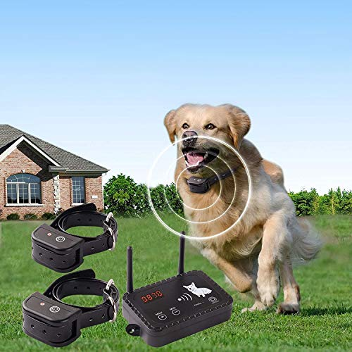 JUSTPET Wireless Dog Fence Pet Containment System, Safe Effective Vibrate/Shock Dog Fence, Adjustable Control Range Up to 900 Feet & Display Distance, Rechargeable Waterproof Collar
