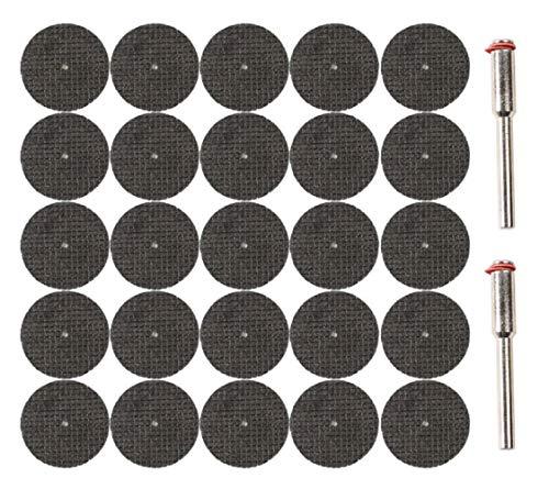 25 dischi da taglio flessibili da 32 mm, con 2 mandrini per Dremel, Proxxon, ecc.