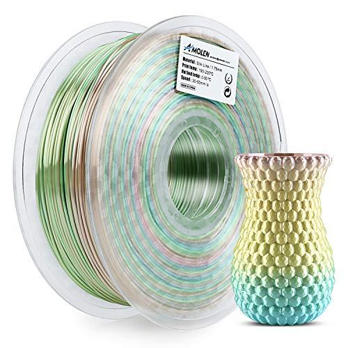 AMOLEN Stampante 3D Filamento PLA 1.75mm, Seta Arcobaleno Multicolore 1KG,+/- 0.03mm Filamenti per Stampanti 3D, include Campione Filamento Glow in the Dark Blu