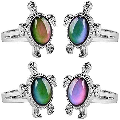 Jiali Q Fantasy 6pcs Mood Ring Change Color Ring Adjustable Size Temperature Finger Ring (Turtle)