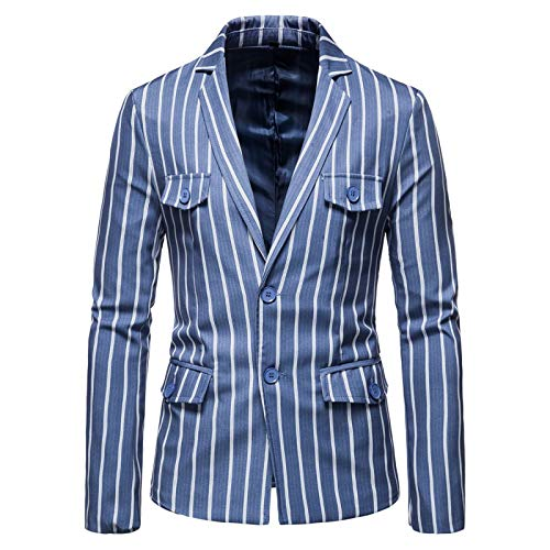 Chyoieya Azul Británico Gentleman Blazer Chaqueta Hombres Sola Botonadura Solapa Collar Traje Chaquetas Abrigo Casual Slim Blazer