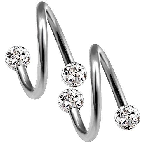 2 Stück 1,2mm 8mm piercing spirale titan ohr tragus twister kugel unterlippe twist helix lippenpiercing lippe nasenpiercing Ferido kristall kugel B2WCA - CL