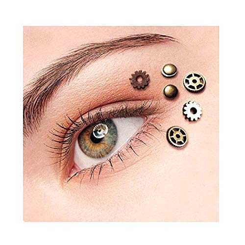 STEAMPUNK EYE DECALS: The perfect steampunk eye decals for your make up - we are providing 6 small cogs with self adhesive silicon glue so your cogs can be attached to around the eye area or anywhere safely and easily. 3D LOOK: The steampunk eye deco...