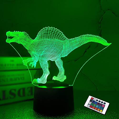Ilusión nocturna 3D, lámpara de escritorio LED, dinosaurio nocturno, 16 colores, carga USB, decoración de dormitorio para niños, Navidad, Halloween, cumpleaños