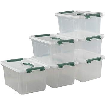 Vareone 7.5 Litros Caja Almacenaje de Plástico con Tapa, Transparente, Paquete de 6 Unidades: Amazon.es: Hogar