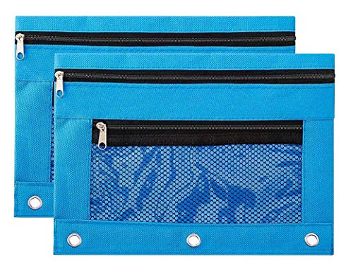 Binder Pencil Pouch Zipper with 3 Ring and Double Pocket and Mesh Window(Blue,2 Pack)