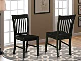East West Furniture Norfolk kitchen chairs - Wooden Seat and Black Solid wood Structure wooden dining chair set of 2
