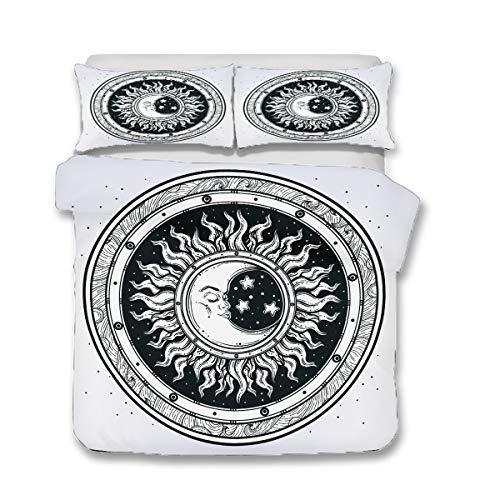 QWAS Juego de ropa de cama de 3 piezas, diseño de sol y luna, tamaño individual, doble y king (A3, 200 x 200 cm + 80 x 80 cm x 2)