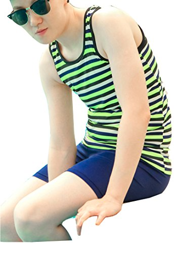 Super Flat Les Lesbian Compression Elastic Band Chest Binder Swimsuit Tank Trunk (Medium, Green Stripe)