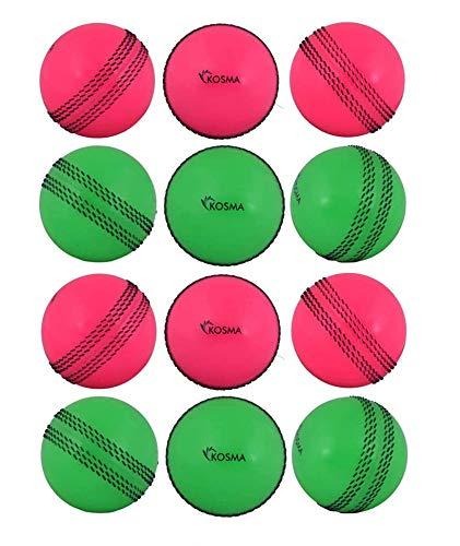 Kosma Set von 12Pc Cricketbälle Windball | Weiche Trainingsbälle | Indoor Training Skills Coaching Balls - Farbe: 6 Stück Grün mit schwarzer Naht, 6 Stück Rosa mit schwarzer Naht