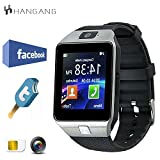 Hangang TFT LCD-Schrittzähler Bluetooth SmartWatch mit 1,56 Touchscreen zum Joggen und Laufen (DZ09) Schwarzes Silber