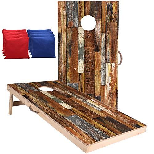 Welldo Sports 4x2 Feet Regulation Wood Cornhole Boards, Both Sides PrintedWood Grain Cornhole Set with 8 Cornhole Bean Bags for Indoor Outdoor CornholeToss Games (4'x2' Boards with Dark Red Bean Bags)