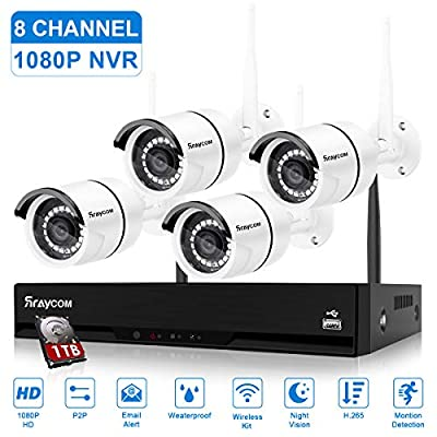 Rraycom 8CH 1080P Security Camera System Wireless with 1TB Hard Drive,H.265+ 1080P NVR Surveillance Camera System,4pcs 2.0MP Home Waterproof Wireless Outdoor Security Cameras with 115FT Night Vision