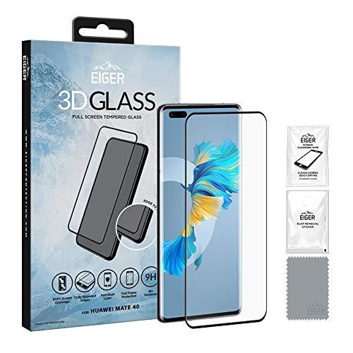 EIGER 3D Glas für Huawei Mate 40 Full Screen Panzerglas Schutzfolie in Klar/Schwarz mit Reinigungsset