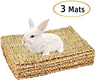 Cloud-X 3 Pack Rabbit Bunny Mat, Natural Straw Woven Grass Bed Mat Chew Toy Bed for Small Animal Like Guinea Pig Parrot Rabbit Bunny Hamster