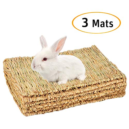 Cloud-X 3 Pack Rabbit Bunny Mat, Natural Straw Woven Grass Bed Mat Chew Toy Bed for Small Animal...
