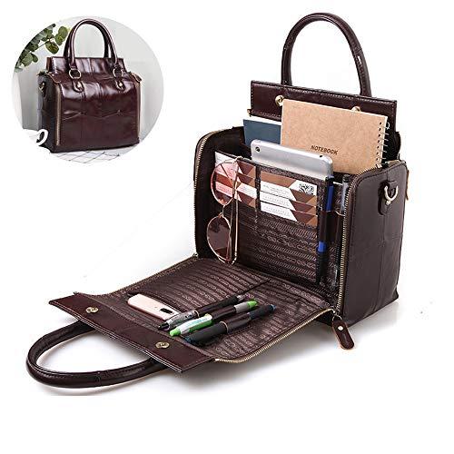 WeiJX Multifunktions-Handtaschen für Frauen, große Kapazität und Organisation Utility-Kuh-Leder-Umhängetasche Tasche mit Magnetverschluss und Patchwork-Mustern, Kaffee