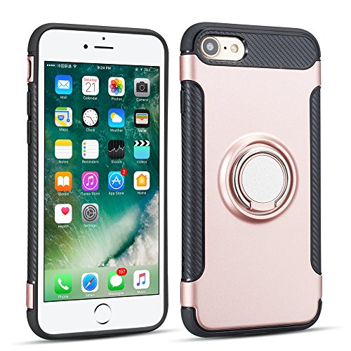 UEEBAI Case for iPhone SE 2020 iPhone 7 iPhone 8, Stylish Ultra Slim Shockproof Silicone TPU+PC Case 360 Degree Rotatable Ring Kickstand Antislip Used As an In-car Phone Holder Stand Cover - Rose Gold