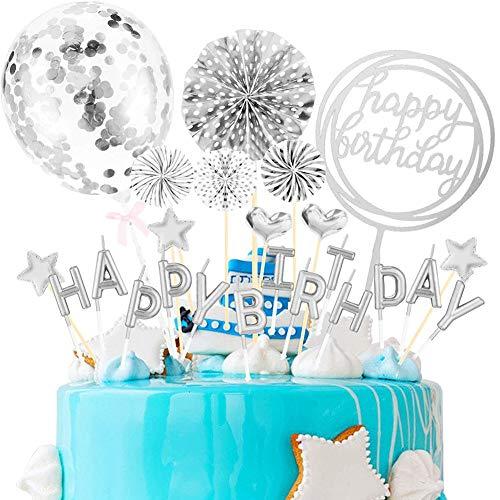 30 Piezas,Decoracion Tarta Cumpleaños,Cake Topper Globos,Happy Birthday Decoracion Tarta,Topper Tarta,Decoración Tartas. (plata)