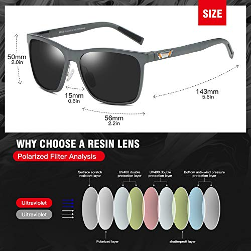 DUCO Unisex Metal Classic Polarised Sunglasses with UV400 Protection for Outdoor Sports 3029H (Gunmetal)