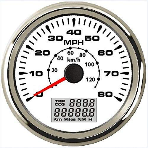 ELING Universal GPS Speedometer Odometer 80MPH 120KM/H with ODO COG Trip 7 Backlights 85mm 12V 24V