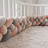 Wanguo Bettausstattung,Baby Nestchen Kinderbett Stoßstange Weben Krippe Stoßfänger Kantenschutz Kopfschutz Für Babybett Bettausstattung (Color : Gray+d-Gray+Two warm pink, Size : 360CM)