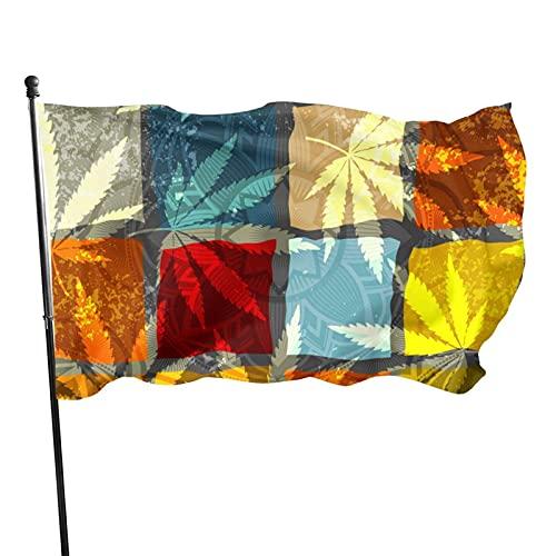 Bandera de jardín Rastafari Grunge Hojas de cáñamo Colorido jardín al Aire Libre Porche Patio Fiesta Bienvenida Banner Vacaciones decoración del hogar 90 x 150 cm