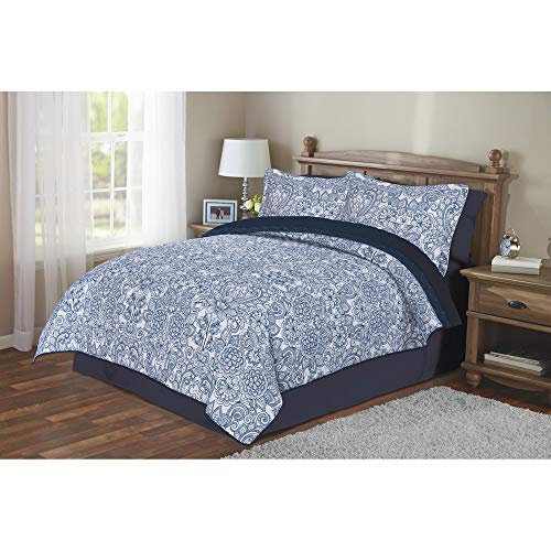Keeco Mainstays Blue Quilt in a Bag Coordinating Full Size Bedding Set