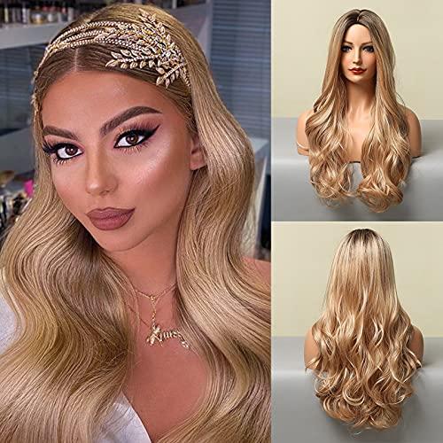 Pelucas largas y rizadas de HAIRCUBE, pelucas de pelo sintético rubio claro para mujeres, pelucas naturales resistentes al calor para uso diario, peluca