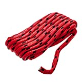 Seachoice 42421 Double Braided Dock Rope for Boating - 100% MFP Dock Line, ⅜-Inch x 15 Feet, Red with Black Tracer