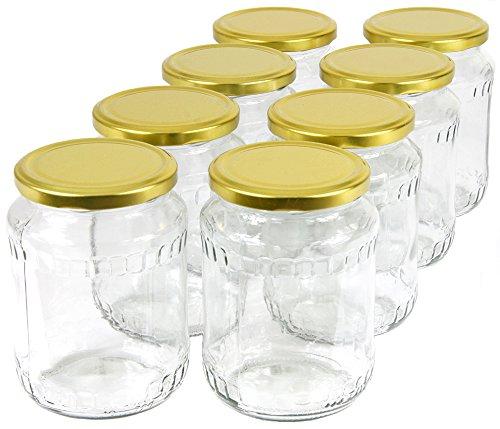 Wamat 720 ml Einweckgläser mit Deckel Gold Einmachgläser Vorratsgläser Einmachglas Weck (Menge: 48 Stück)