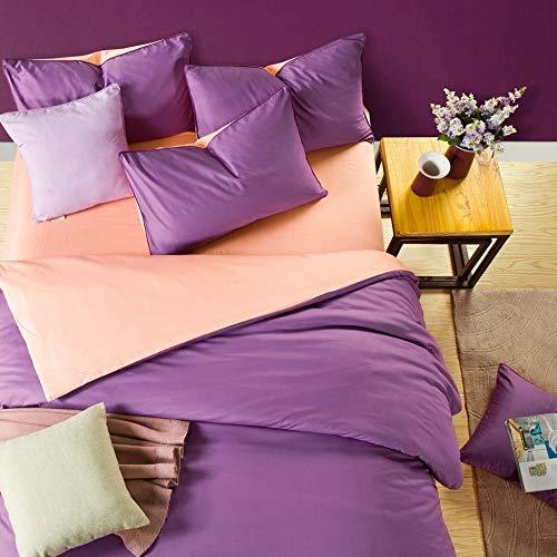 Juego de Cama de Color sólido Simple de Cuatro sábanas de algodón y algodón, Encanto Ziyu1.2 sábanas, Funda de edredón de Tres Piezas 1.6 * 2.1