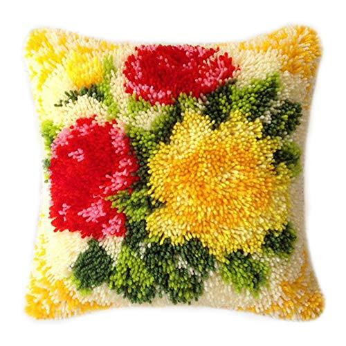 DIY Cushion Carpet Mat Latch Hook Rug Kits Cover Hand Craft Embroidery Pillowcase Crocheting Flower Handmade Baby Wedding Kids Parents Gift 16x16 Inch