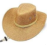 QQSA Cowboy Hat Men Verano Playa Sombrilla Oeste Cowboy Cap Masculino Escalada Viajes al Aire Libre Protección Sol Casual Casos H7247 (Color : BeigeA, Size : 58CM)