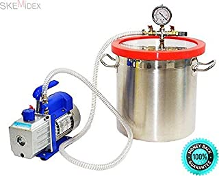 SKEMi-Vacuum Chamber with Pump Vacuum Chamber for Sale Vacuum Chamber DIY Vacuum Chamber uses Clear Vacuum Chamber and 2 Gallon Vacuum Chamber and 3 CFM Single Stage Pump to Degassing Silicone